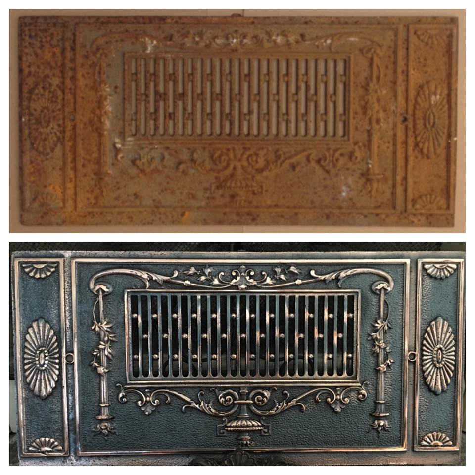 Before/after iron fireplace fender