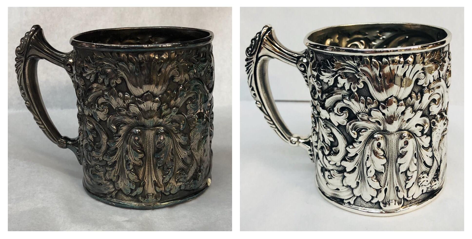 Before/after antique Silver mug