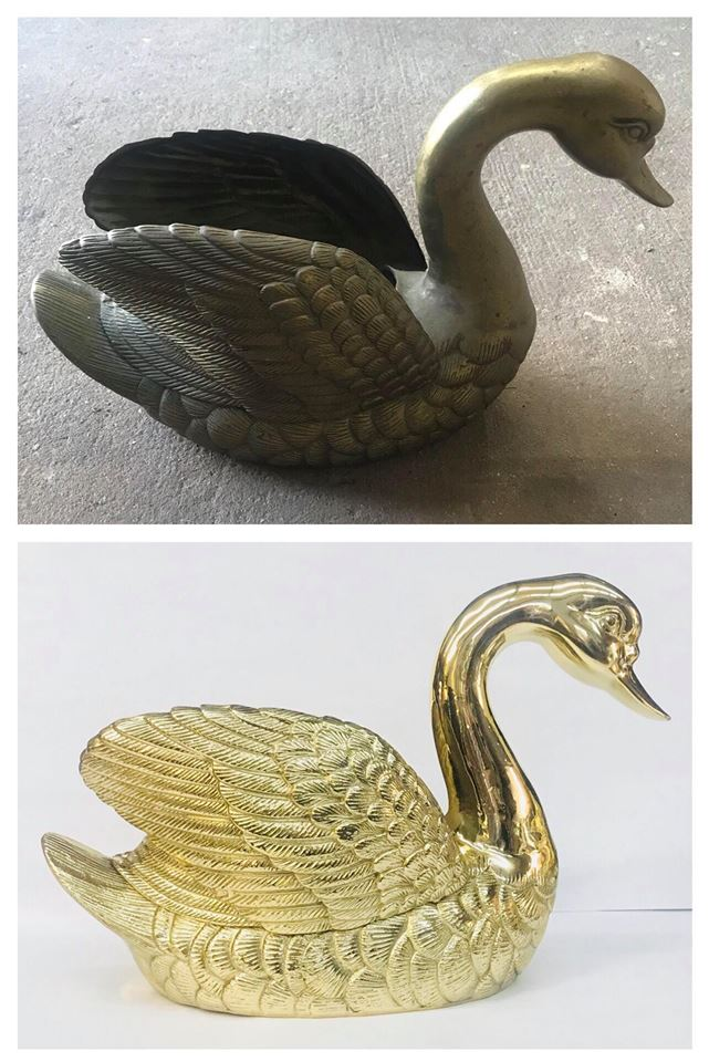Before/after Brass swan