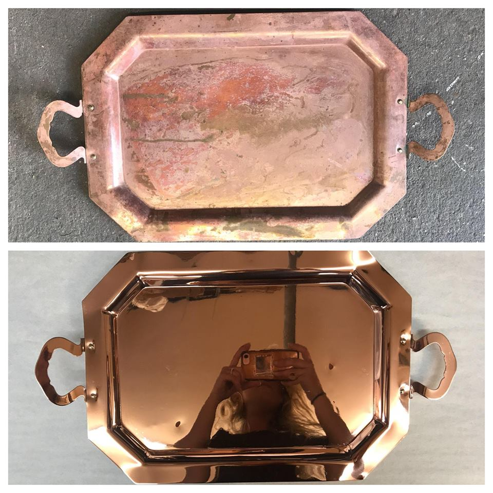 Before/after Copper serving tray