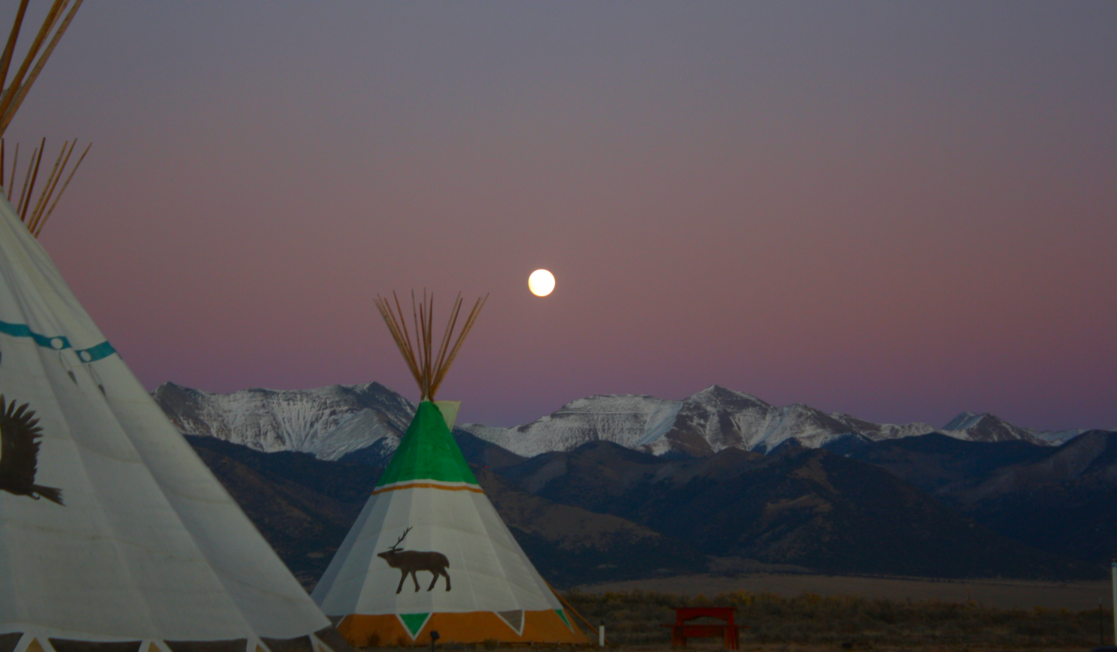 full moon sunset tipi