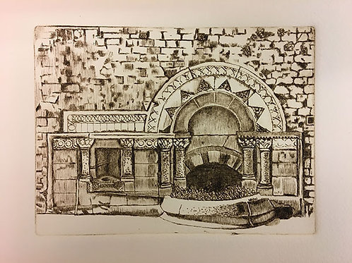 Ladymead Fountain - Drypoint Print