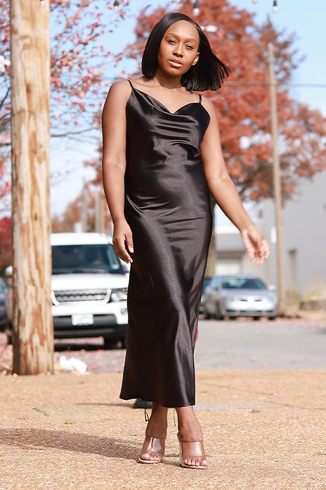 black satin slip dress with drawstrings
