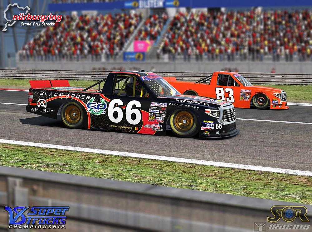 Two Trucks racing to turn 1