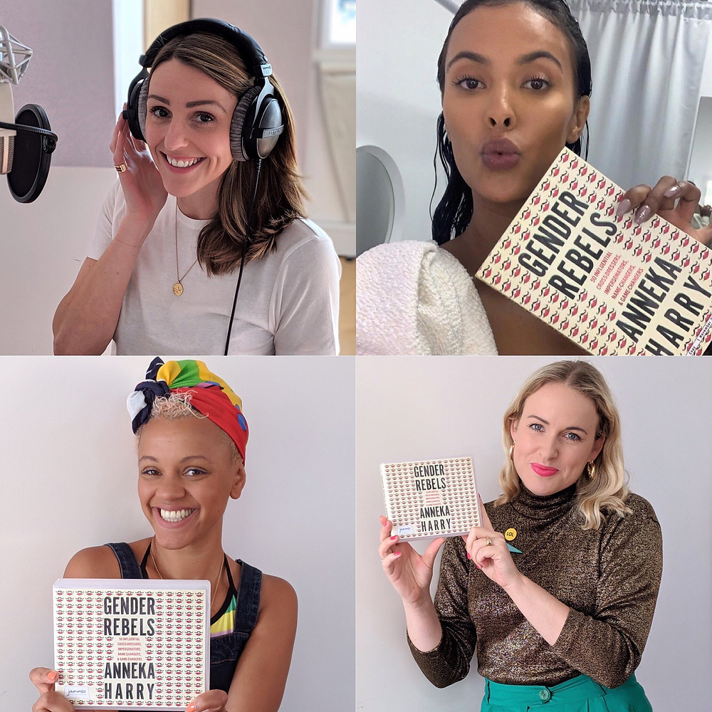 The all-star narration cast for the new Gender Rebels audiobook features Suranne Jones, Maya Jama, Gemma Cairney and author Anneka Harry