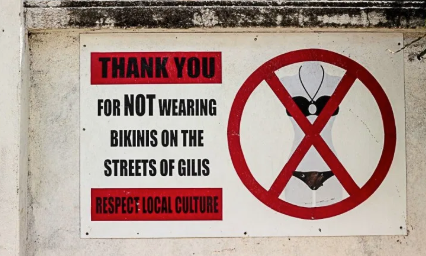 A sign posted on an outside wall thanking visitors for not wearing bikinis in the streets