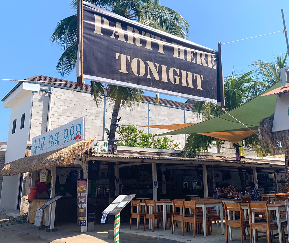 If you lose track of what day of the week it is on Gili T, the banners hanging over the street letting you know where the party is can usually tell you!