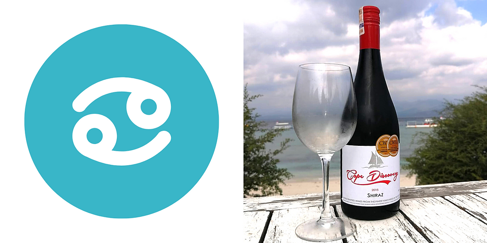 Cape Discovery shiraz red wine on the beach