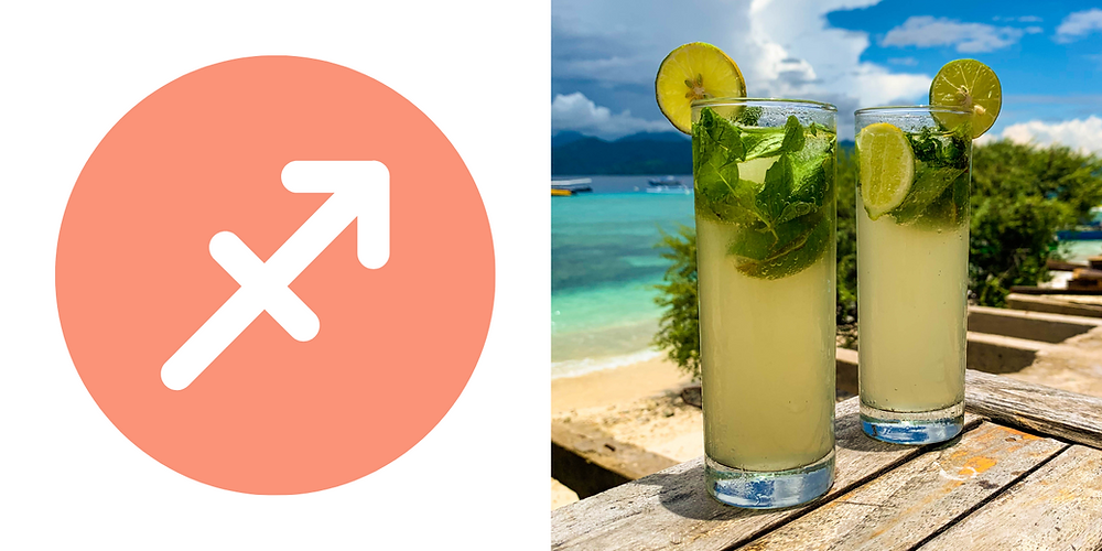 A tall glass filled with muddled lime and mint making the perfect Mojito