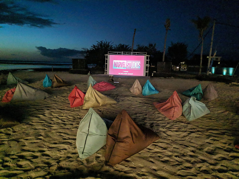 Bean bags on a Gili T beach facing a large screen about to play an awesome movie