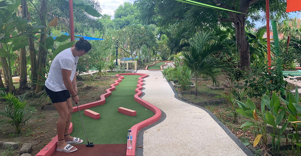 Traditional holiday fun meets island paradise with Gili Golf, a full 18-hole mini golf course right on Gili T!