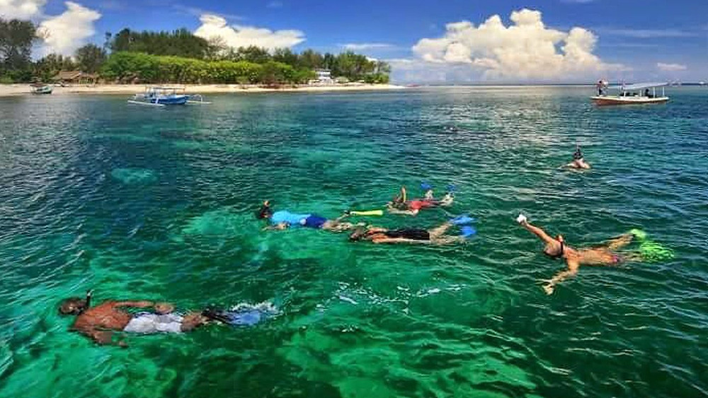 Snorkelers swimming in the clear blue waters of Gili T