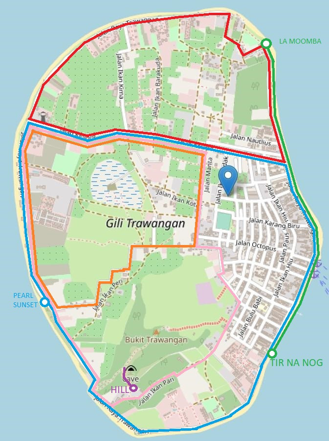 Map of Gili Trawangan with highlighted running routes