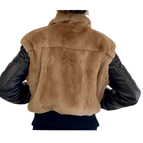 Short Fur With Leather Details