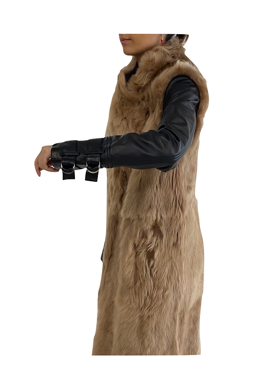 Long Fur With Leather Details