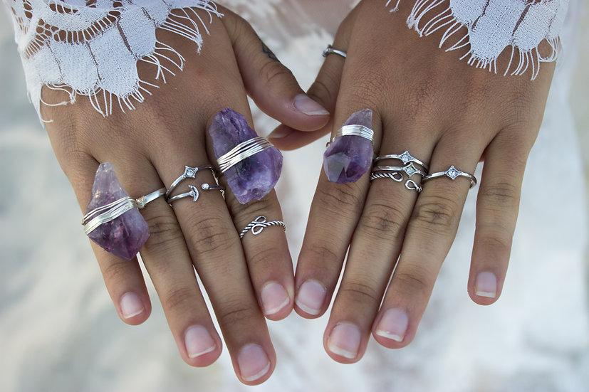 Oracle Crystal Ring in Amethyst