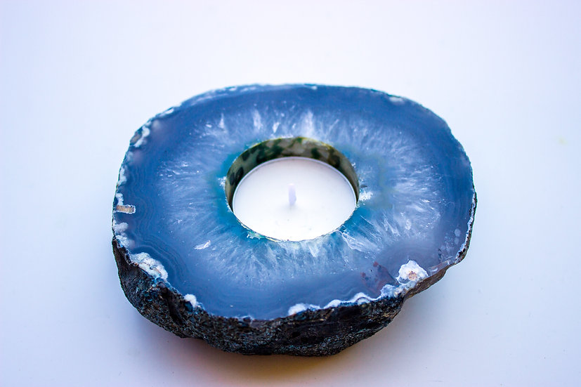 Blue Agate Candle Holder