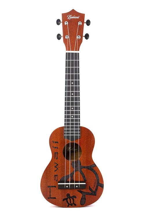 Leolani 4 String Soprano Longneck Mahogany Honu Ukulele