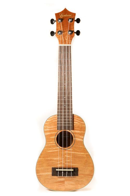 Leolani 4 String Super Soprano Curly Okoume TUX Finish Ukulele