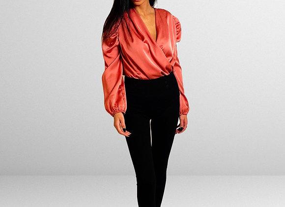 rosa Body Bluse mit Wickel Optik