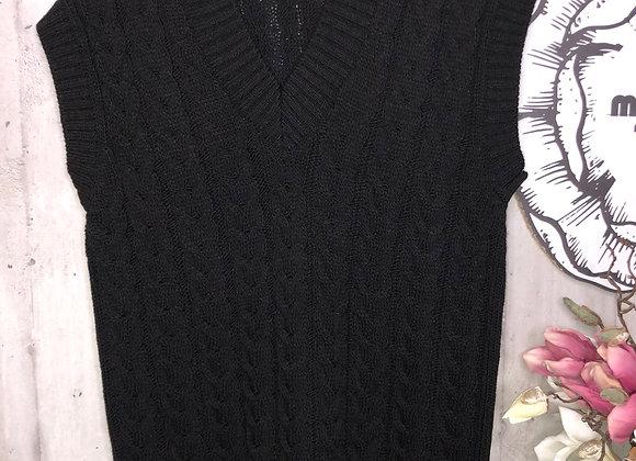 Strick-Pullunder  schwarz