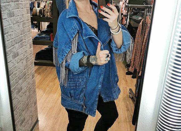 Jeansjacke mit Metallfransen