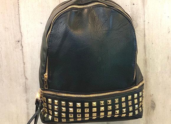 Rucksack schwarz mit Nieten