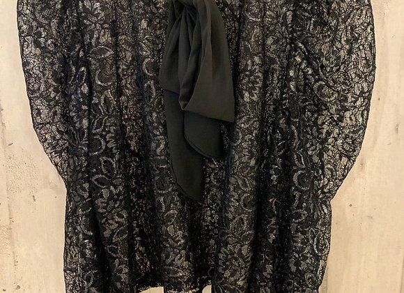Spitzen Bluse, schwarz/metallic