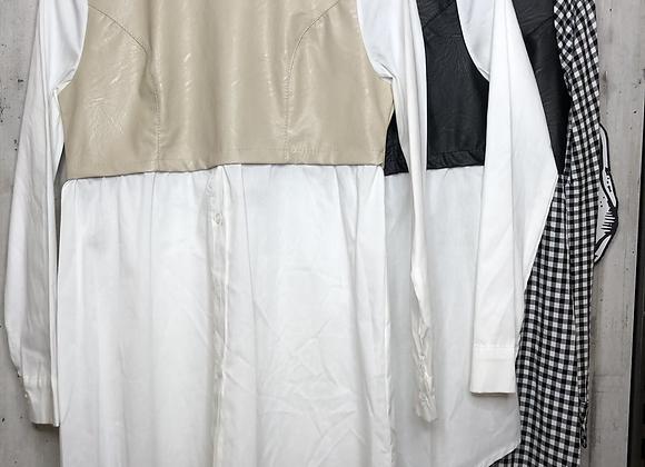 Long Bluse mit Ledereinsatz
