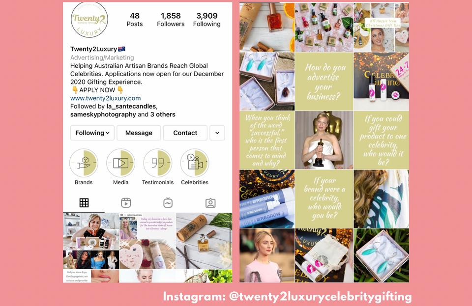 Twenty2LuxuryCelebrityGifing Instagram