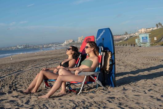 Girls relaxing on Beach