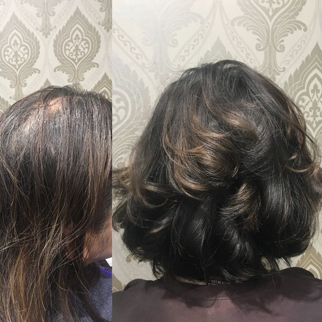 Layered Cut and Color.  If you have fine it is good to put layers in to give more body.