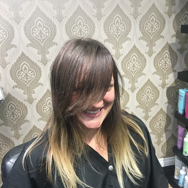 Before Picture & Blonde Balayage Is Still Looking Flawless After Months. About To Go Plum Violet.