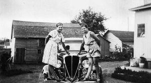 Verna and Grace Kuehn on a 1930s Studebaker car