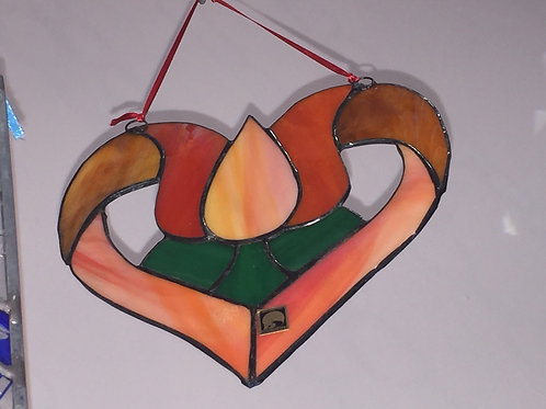 Heart shaped flower stained glass