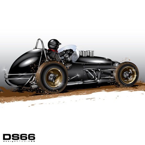 Vintage Sprint Car 1 Illustration
