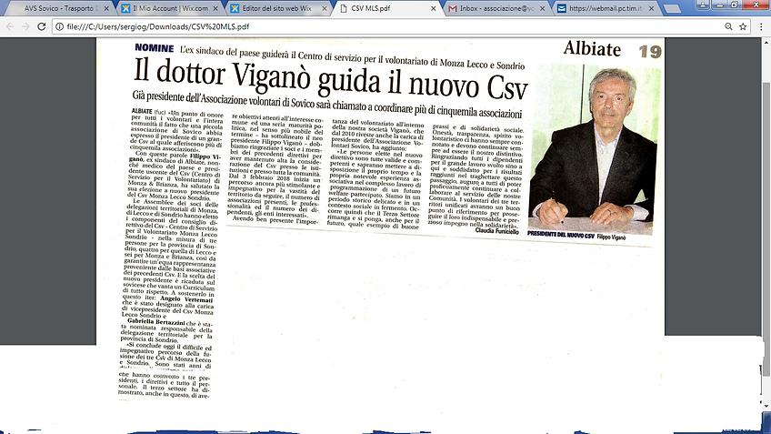 Dottor Filippo Viganò Capo Nuovo CSV