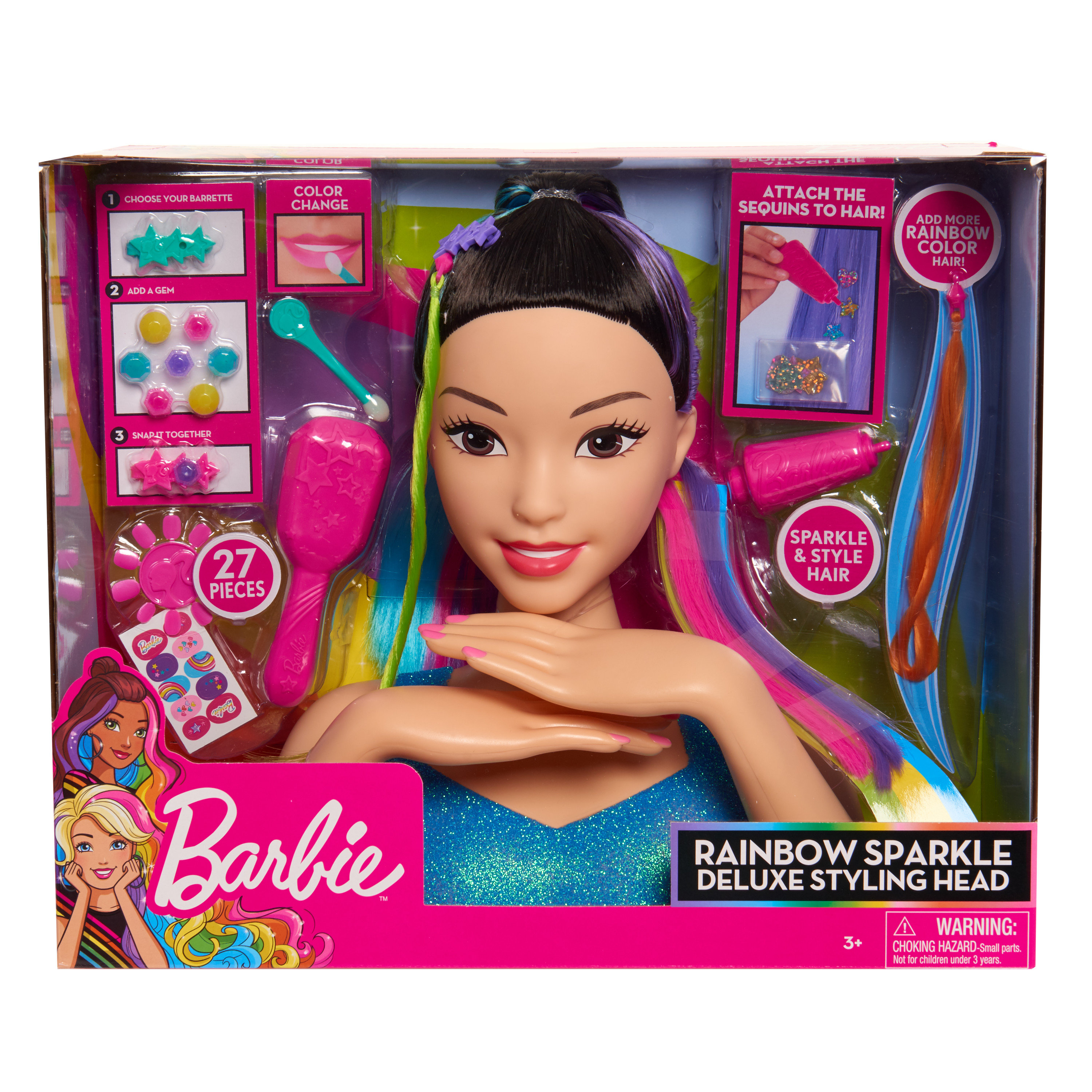 Awesome Rainbow Sparkle Hair Barbie Styling Head wallpapers to download for free greenvirals