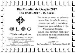 03/03/2017 -DIAMUNDIAL DE ORAÇÃO