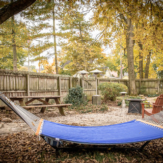 Backyard hammock and firepit area