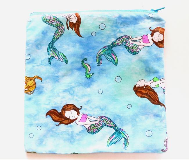 Mermaid in Blue Teal water Front View