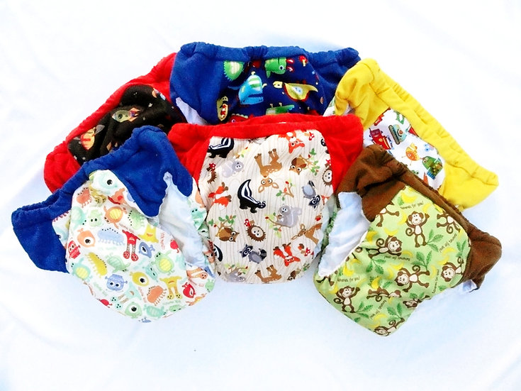 Daytime reusable washable cloth pull ups for boys of PUL prints - various patterns front view