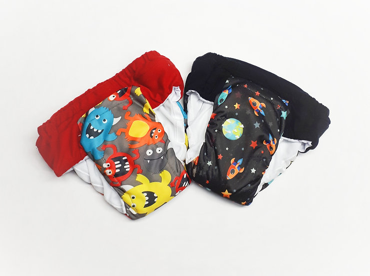 Thirsty reusable and Eco friendly cloth pull ups or diapers of monsters and rocketship prints front view