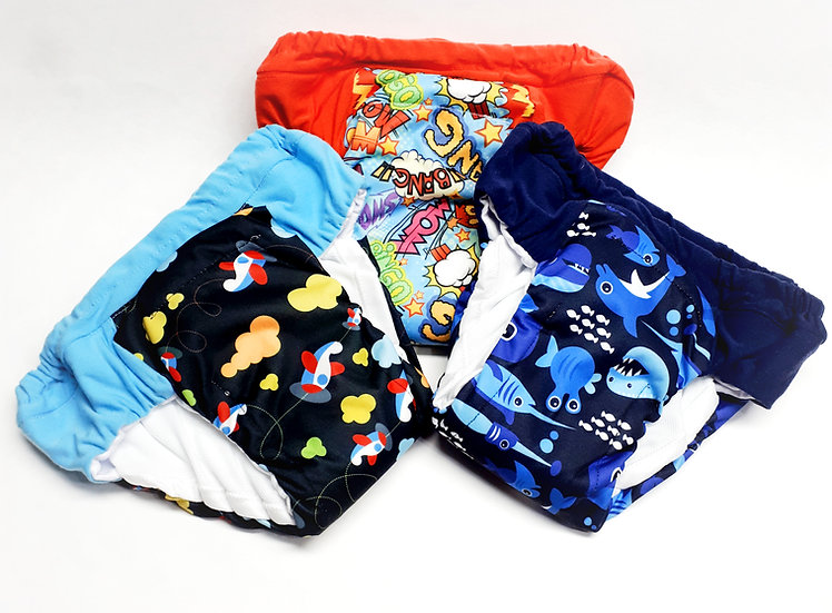 Heavy Wetters boy potty training pants of waterproof PUL of planes, sea lives and comic saying front view