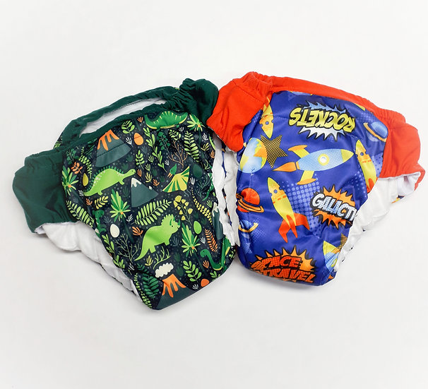 Daytime reusable pull ups with stay dry lining very absorbent and of dinos and space rockets PUL prints front view