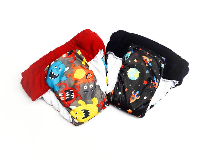 Sets of 2 daytime cloth pull ups of monsters and rocketship front view