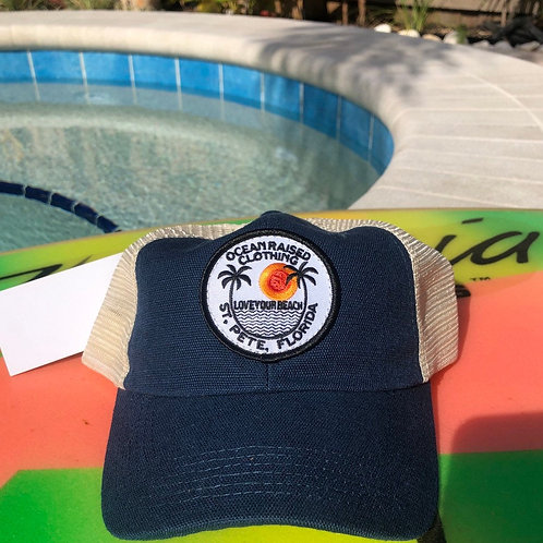 Ocean Raised Navy Blue Paradise Patch Hat