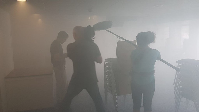 Nebel u Rauch -Feueralarm auf der Logos Hope
