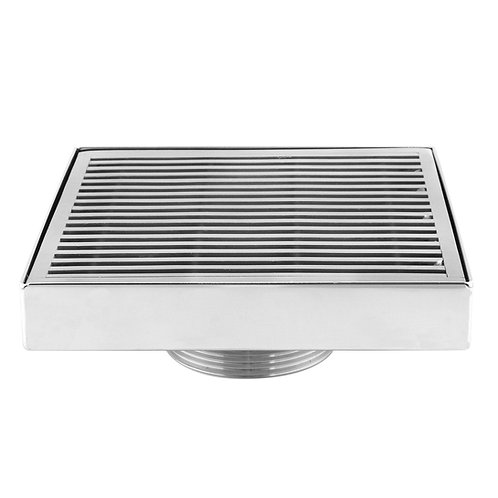 LUXE Square Wedgewire Stainless Steel Shower Drain - 5in x 5in