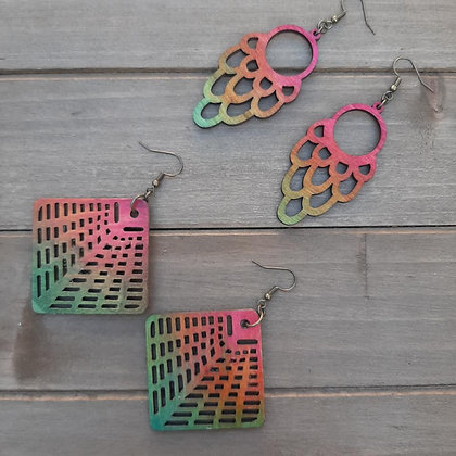 Rainbow Wood Cut Earrings